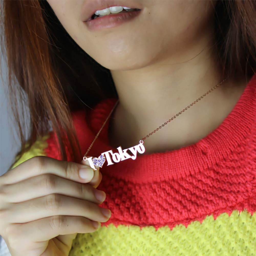 Jack-F Customized Name Necklace Personalized Fashion Name Necklace with Heart Birthstones for Her