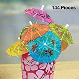 "Cocktail Umbrellas On Wooden Stick – 144 Pieces – Umbrella 2"", Stick 4"" - Assorted Colors And Designs Drink Umbrellas Parasols – Caribbean, Hawaiian, Luau, Tropical, Bar, Parties – By Kidsco"