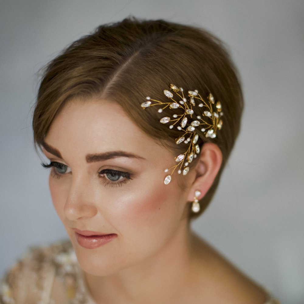 fxmimior Bridal Hair Accessories Pearl Crystal Hair Pins Hair Clips Bobby Pin Wedding Party Evening Headpiece Head Wear (pack of 3) (gold)