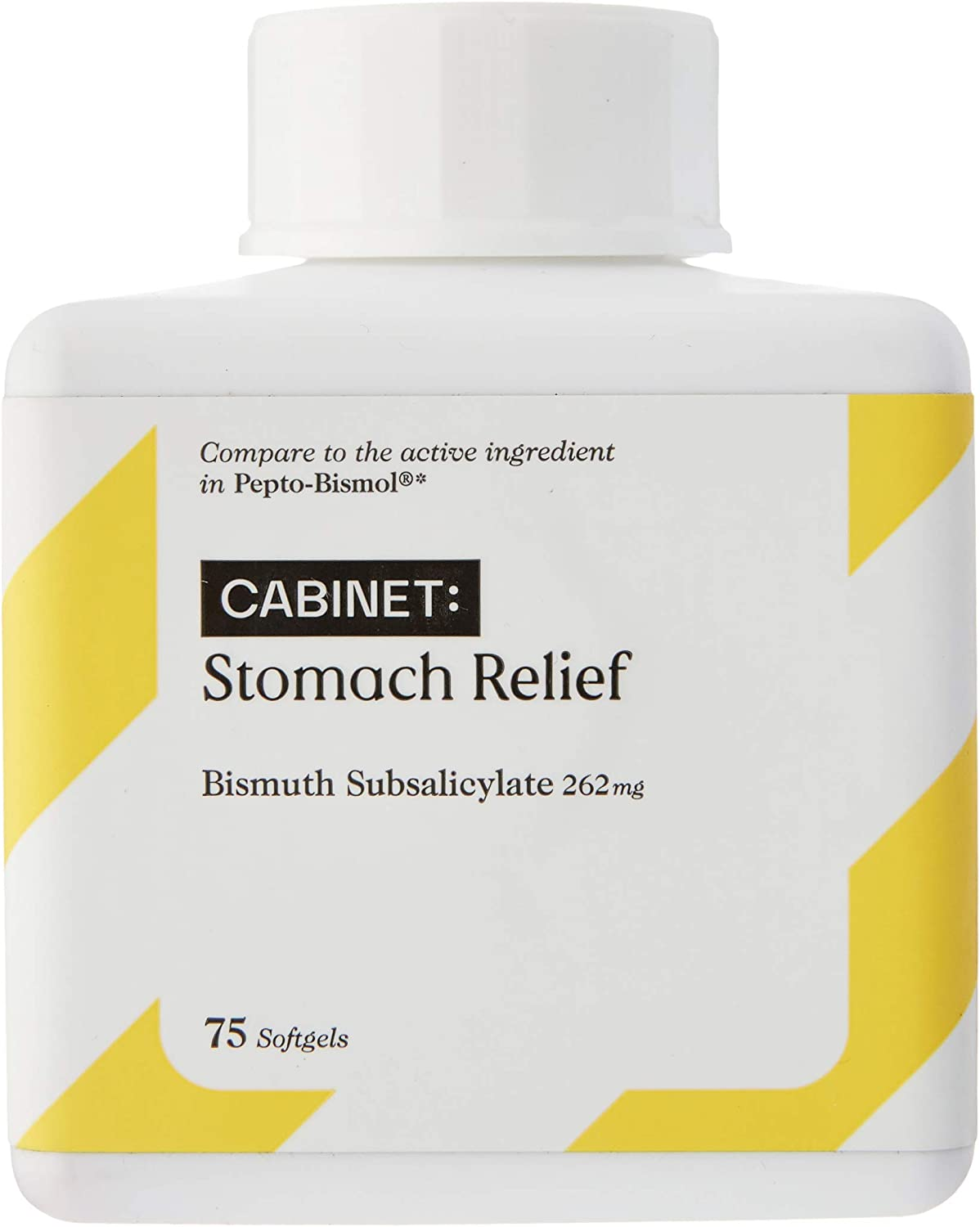 Cabinet Upset Stomach Relief Liquid Softgels, 75 Count, 262 mg Anti Diarrhea Medicine for Adults and Kids 12 and Up, Fast Acting Bismuth Subsalicylate Antidiarrheal: Health & Personal Care