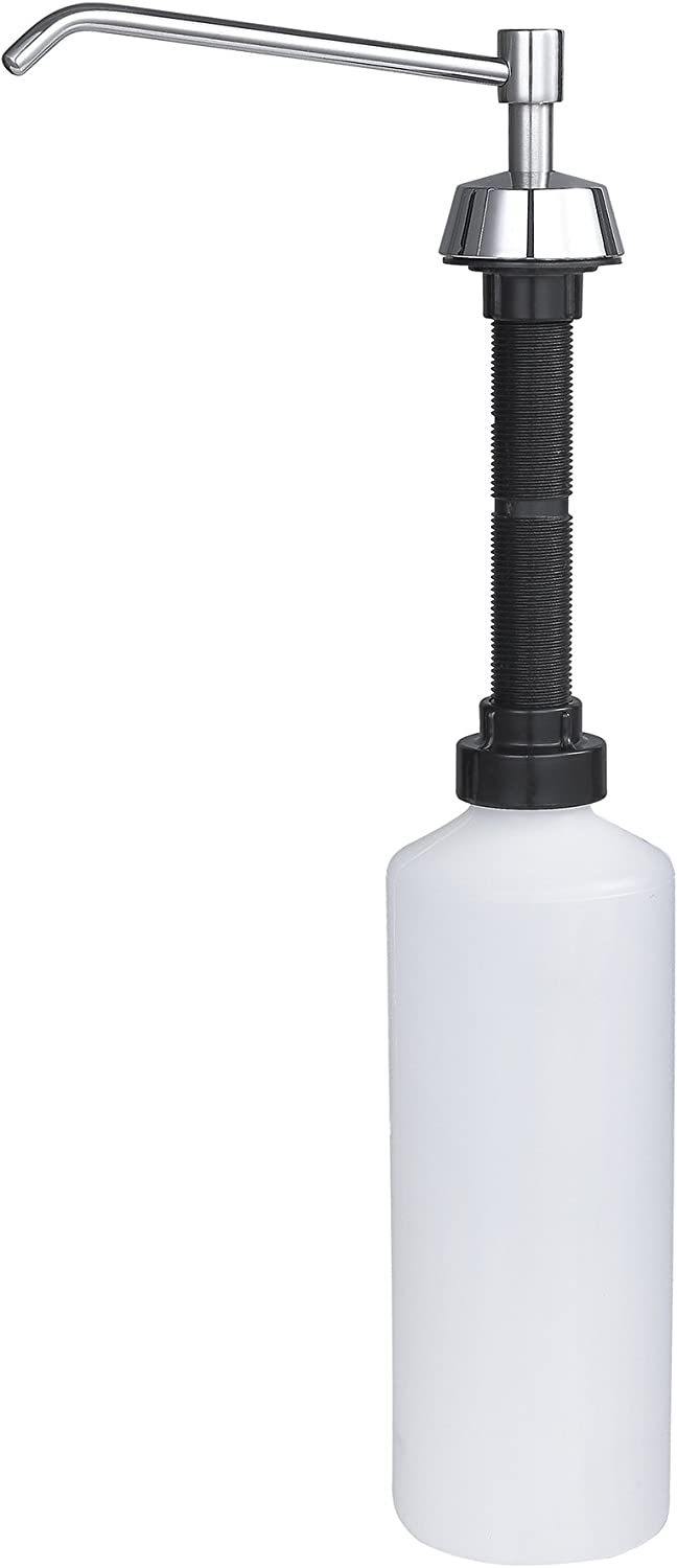 "Counter Mounted Lavatory Soap Dispenser (Refillable from The Top) - 6"" Spout - 32oz Capacity - Suitable for Use of Liquid Soap, Detergent, Conditioner and More - by Dependable Direct"