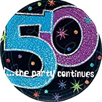 "The Party Continuous 50th Birthday Party Round Dessert Prismatic Plates Tableware, Pack of 8, Multi , 7"" Paper"