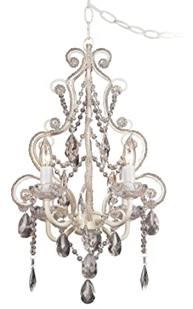 Leila 11 wide white finish beaded plug in swag chandelier leila 11quot wide white finish beaded plug in swag chandelier aloadofball Gallery