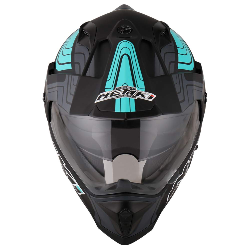 ECE Approvato con Dual visiera M, Nero Giallo Matt NENKI Casco Adventure Motocross Integrale NK-313