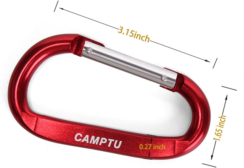 CAMPTU 10pcs Aluminium Karabiner gro/ß Clip Klettern karabinerhaken Schl/üsselanh/änger Camping D-Ring Haken f/ür Outdoor Home RV WanderReise Rucksack