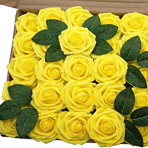 J-Rijzen Jing-Rise Artificial Flowers 50pcs Real Touch Yellow Fake Roses Form Flowers for Bride Wedding Bouquet Flower Garland Floral Centerpieces Table Arrangements Home Decorations (Yellow)