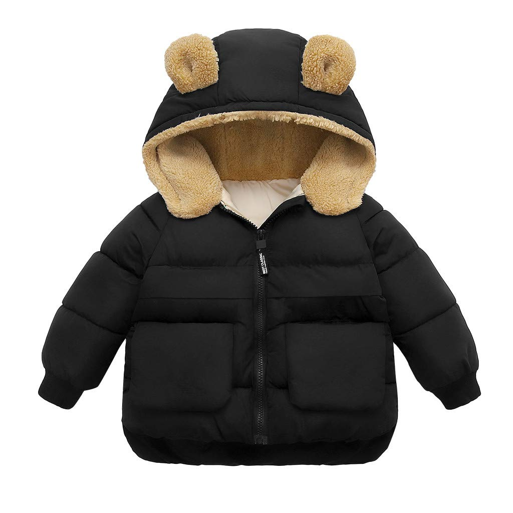Gallity Little Girls Hooded Snowsuit Winter Warm Thicken Fleece Coat Cute Bear Ear Hooded Down Jacket Windproof Zipper Outerwear 2T-7T (5-6 Years, Black) by Gallity Baby Coat