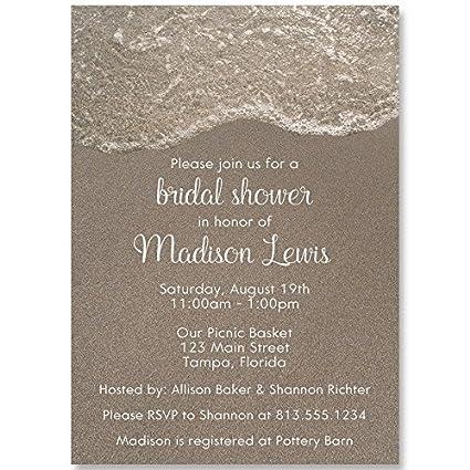 sandy shower bridal shower invitation tan white wedding shower invitation beach