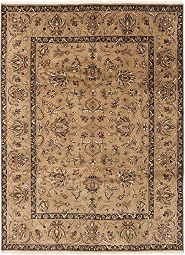 eCarpet Gallery Hand-Knotted | Large Area Rug for Living Room, Bedroom | Home Decor Rug | 100% Wool | Finest Agra Jaipur Bordered Brown Rug 8