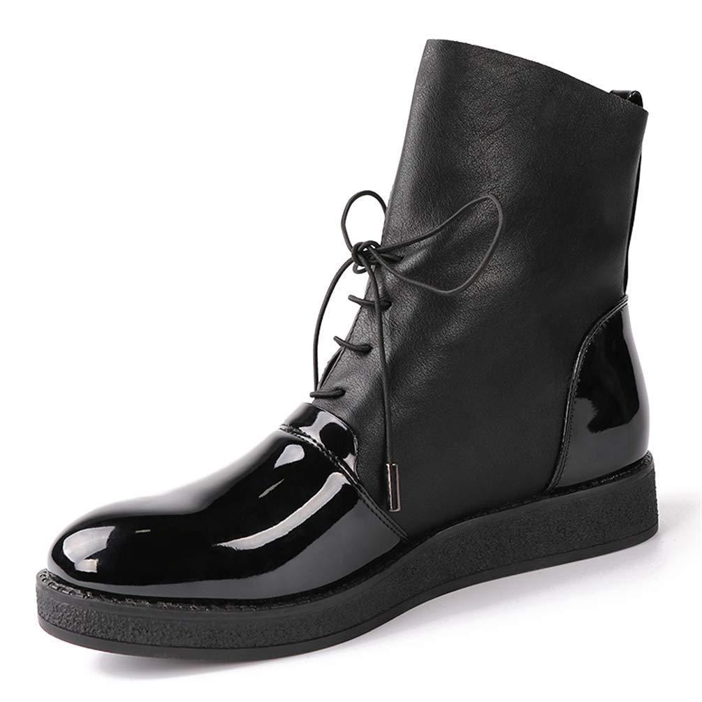ZHRUI Frauen Stiefel weibliche weibliche weibliche Mode Lack pu Lederschuhe kühlen reiten Plattform Stiefel für Damen (Farbe   Schwarz Größe   7 UK) 9e2702