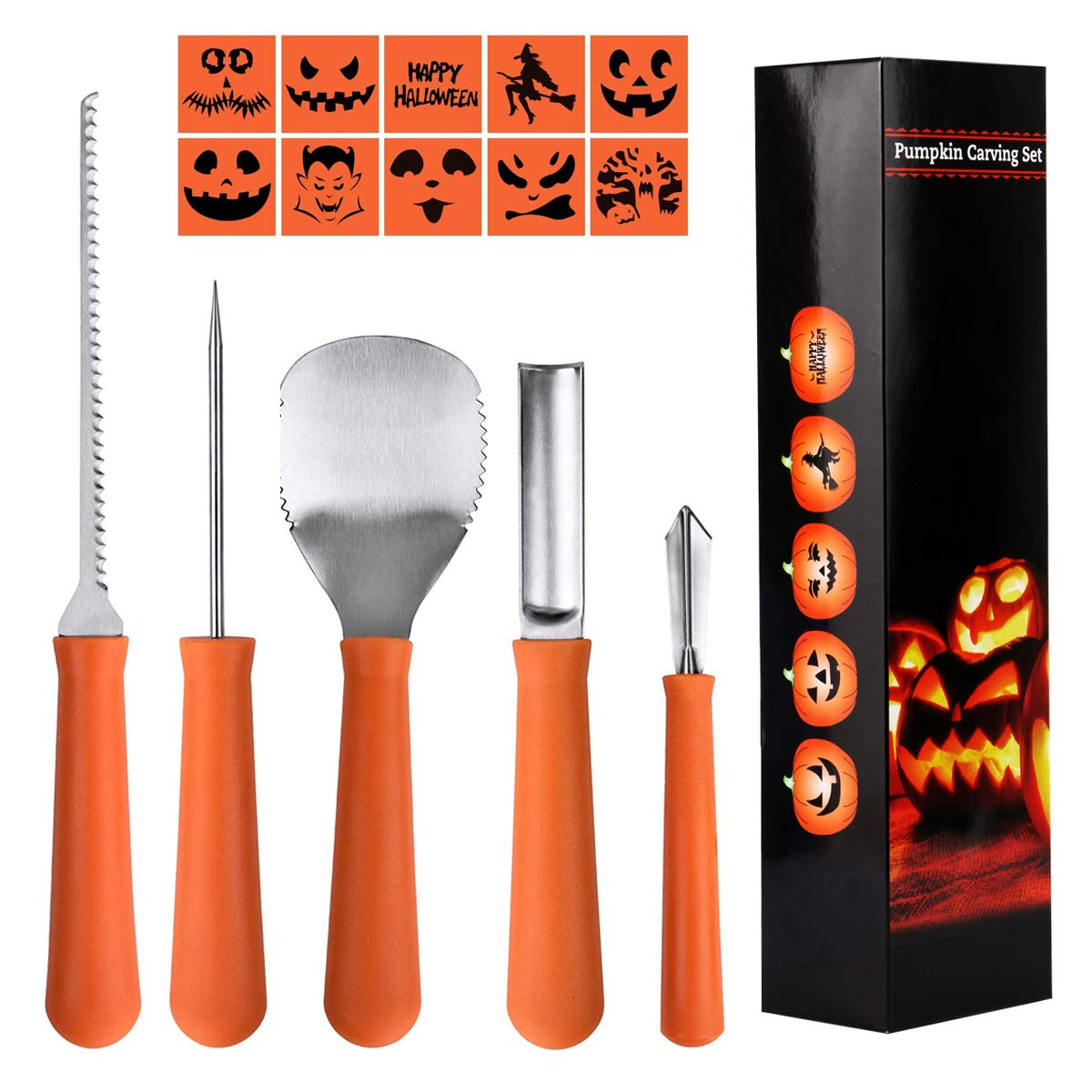 Epartswide Pumpkin Carving Kit 5 Piece Halloween Pumpkin Carving Tool Kit with 10 Carving Stencils DIY Halloween Jack-O-Lantern For Family Activity