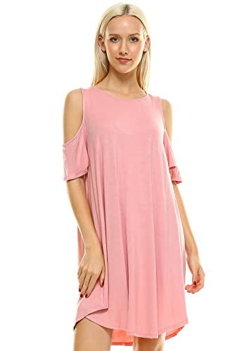 Cut Out Cold Shoulder Dress For Women Loose Swing Fit Shift Dresses Made In USA