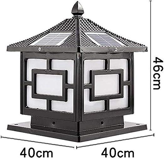 columna solar super luminoso LED -Blackh46cm presión externa solar jardín del patio exterior farola columna: Amazon.es: Iluminación