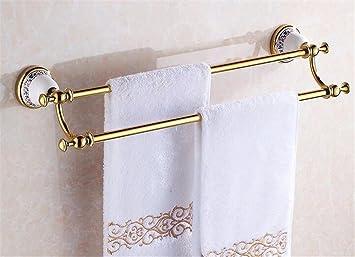 TXDQFa Estilo Europeo Oro Bronce Stand Toallas Vintage Rosa Palo Doble baño Toalla Colgante Oro 61cm,UN: Amazon.es: Hogar