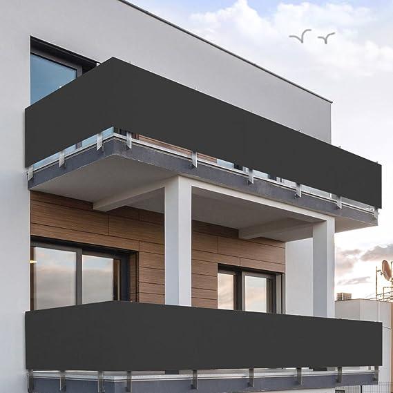 MCTECH 600x90cm PVC Balcón Revestimiento Protección Pantalla- Protectoras Sin Tornillos Pantalla Bisel Balcón Sombrilla Impermeable - Antracita: Amazon.es: ...
