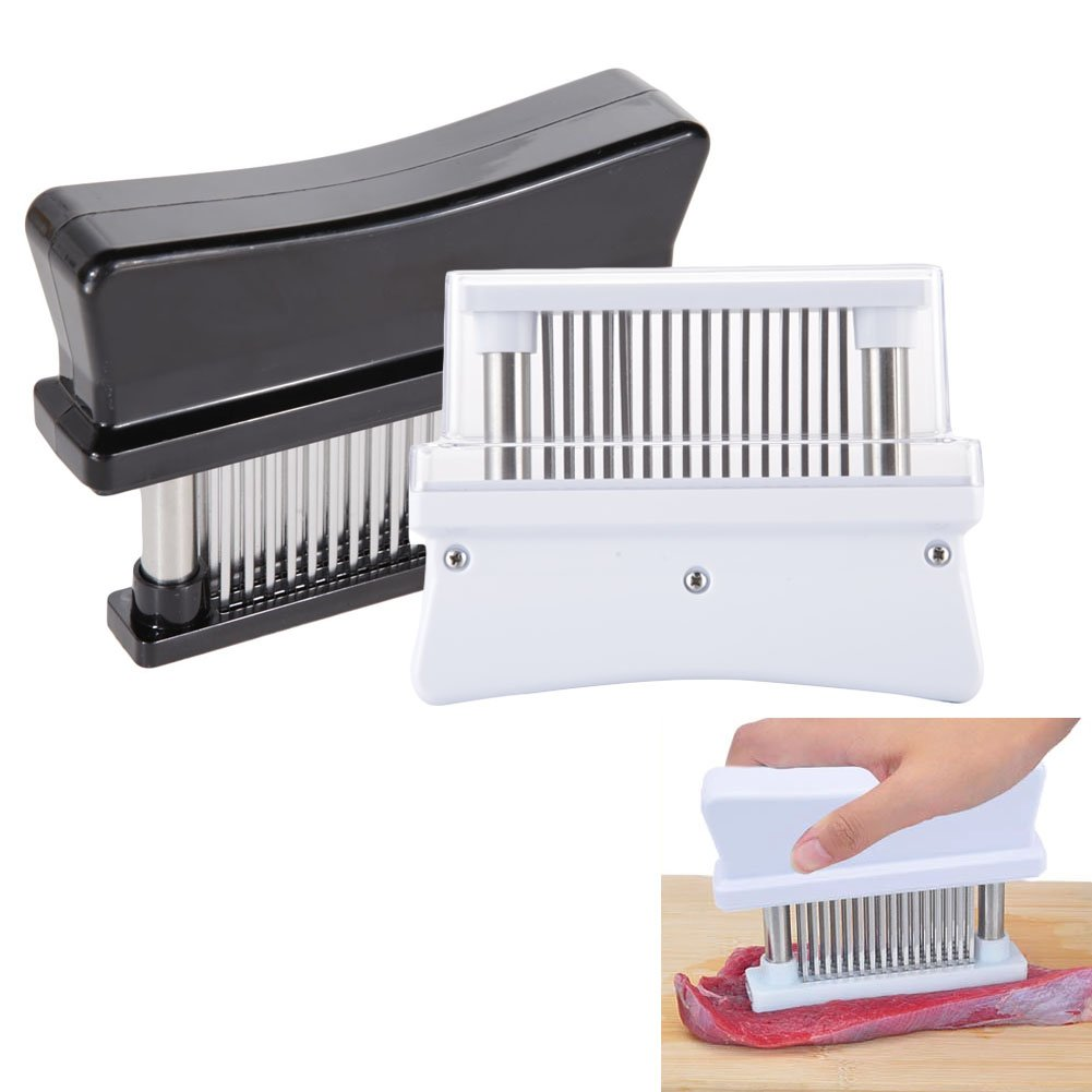 Whitelotous Meat Tenderizer with 48 Stainless Steel Blades/Needles & Durable ABS Plastic for Tenderizing Steak Beef Pork Chicken (Color in Random)