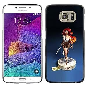 FlareStar Colour Printing Redhead Girl Blue Statue Woman Warrior cáscara Funda Case Caso de plástico para Samsung Galaxy S6 / SM-G920 / SM-G920A / SM-G920T / SM-G920F / SM-G920I