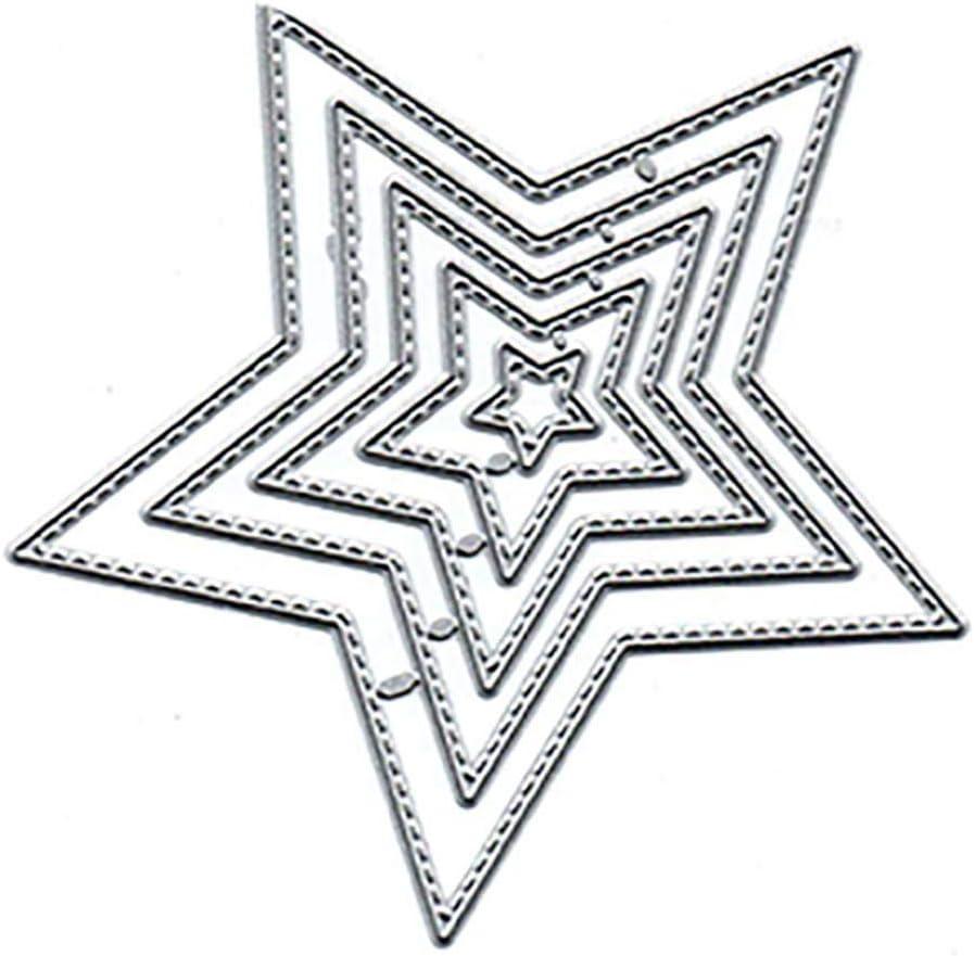 bricolage scrapbooking invitations de mariage cartes de No/ël cartes de remerciement gaufrage P12CHENG Matrice de d/écoupe en m/étal en forme d/étoile rectangulaire pour bricolage