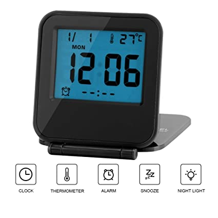 Reloj de Alarma Plegable Portátil Ultra Delgado/ Despertador Digital con Temperatura Calendario Fecha Semana(