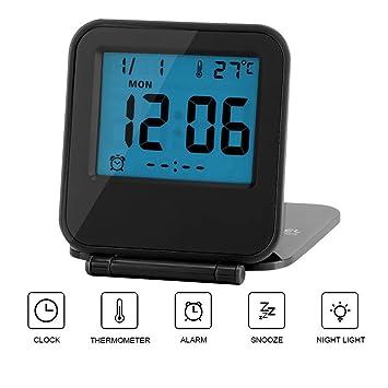 Reloj de Alarma Plegable Portátil Ultra Delgado/ Despertador Digital con Temperatura Calendario Fecha Semana(black): Amazon.es: Hogar