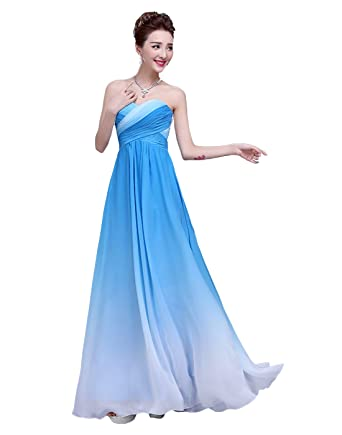 Dressystar Womens Chiffon Ombre Dress Sweetheart Ruffles Empire Line Evening Dress Size 18 Blue