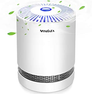 MOSFiATA Air Purifier Triple Filtration Air Filter with True HEPA & Active Carbon Filters, Eliminate 99.97% Dust, Smoke, Pollen, Odors and Pets Dander, 3 Speeds & Nightlight for Office Home Room