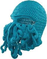 CHIC-CHIC Winter Strick Mütze Häkeln Beanies Warm Mask Lustig Krake Mask Beard Caps Herren Damen Unisex