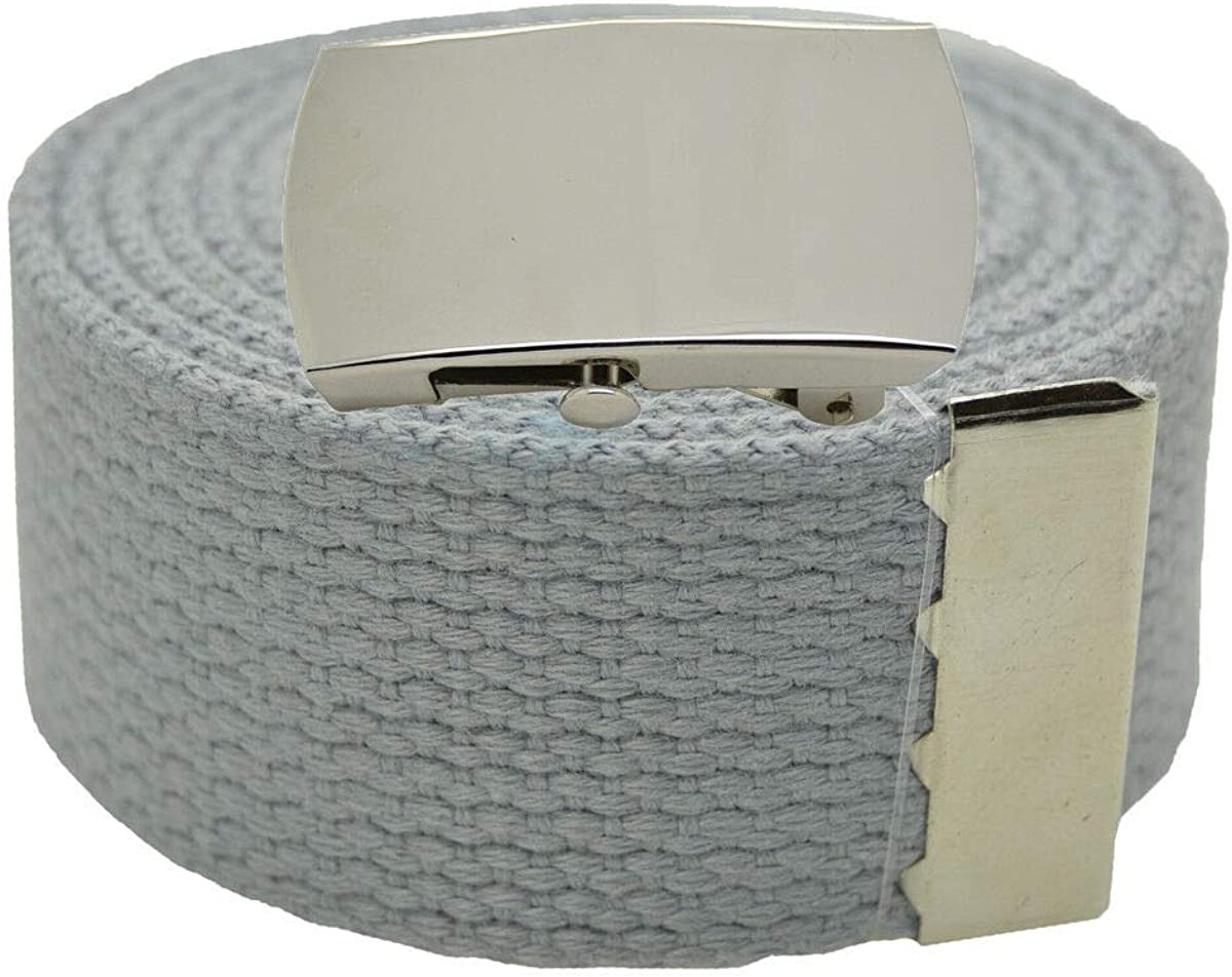 Top Quality Canvas Military Web Belt /& BIGPlain Silver Buckle 54 LIGHT GRAY #AAAS