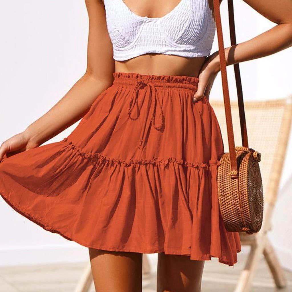 TOTOD Skirts for Women Fashion Polka Dot Print Ruffles A-Line Pleated Lace Up Short Dress Mini Dancewear