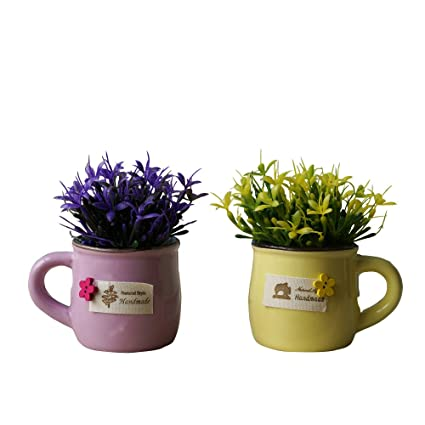 KAIMO Arreglo artificial de la hierba 2Pc con los potes de cerámica para la decoración del