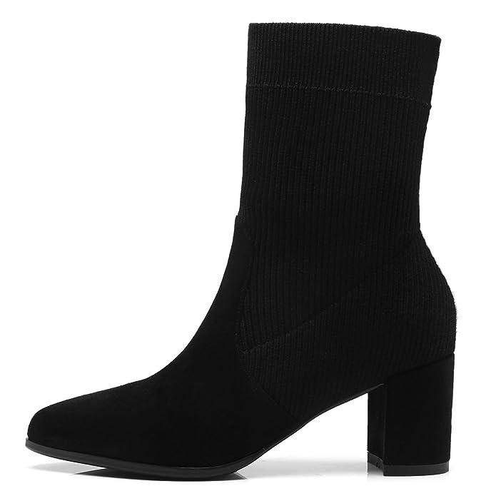 ANNIESHOE Stiefeletten Damen Knitting Wool Biker Boots Absatz Schwarz 36CN  35.5EU 23cm  Amazon.de  Schuhe   Handtaschen bedb7f4d79