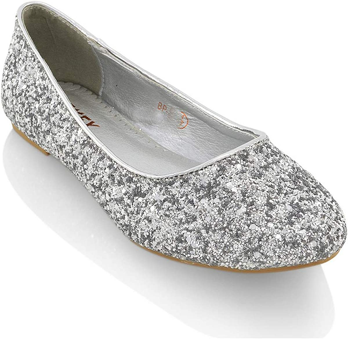 Womens Ladies Flat Ballet Glitter Bridal Bridesmaid Prom Dolly Sparkly Pumps Slip On Shoes Size 3-9