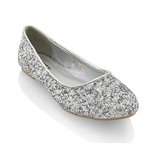 86ee5f438 ESSEX GLAM Womens Ladies Flat Ballet Glitter Bridal Bridesmaid Prom Dolly  Sparkly Pumps Slip On Shoes Size 3-9: Amazon.co.uk: Shoes & Bags