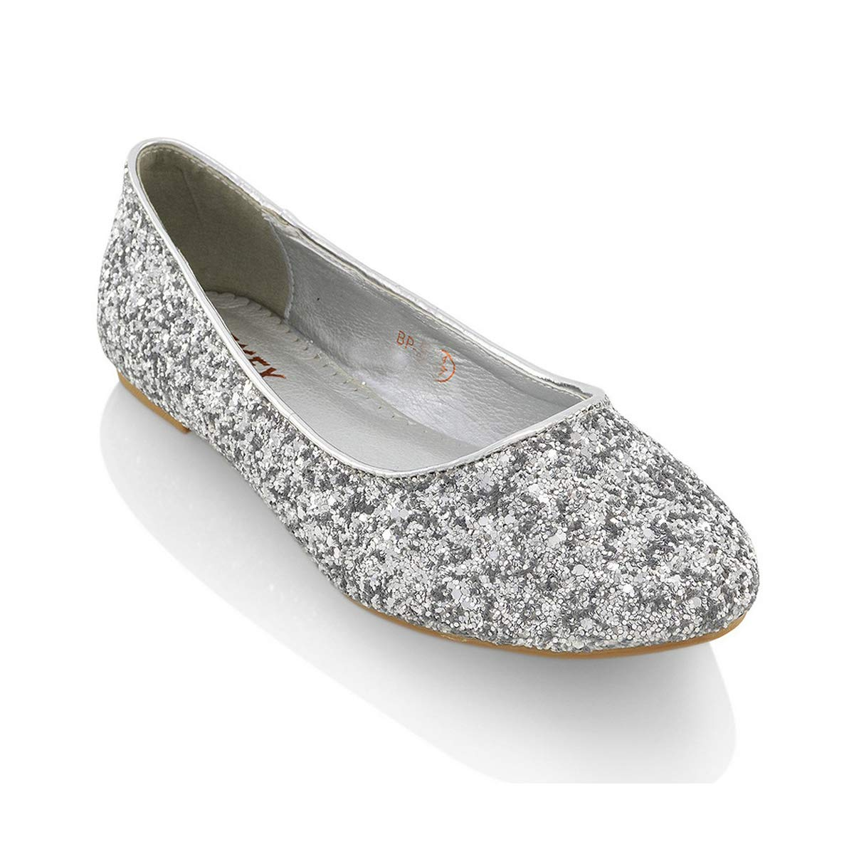 acfa3581a03c ESSEX GLAM Womens Ladies Flat Ballet Glitter Bridal Bridesmaid Prom Dolly Sparkly  Pumps Slip On Shoes Size 3-9  Amazon.co.uk  Shoes   Bags