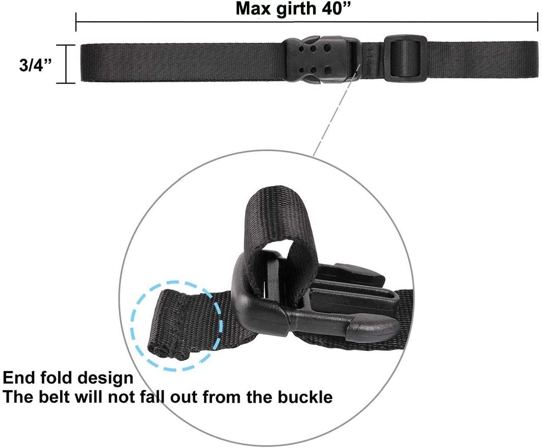 0.75x40, Black Ayaport Utility Straps with Buckle 40 Quick-Release Adjustable Nylon Straps Black 4 Pack