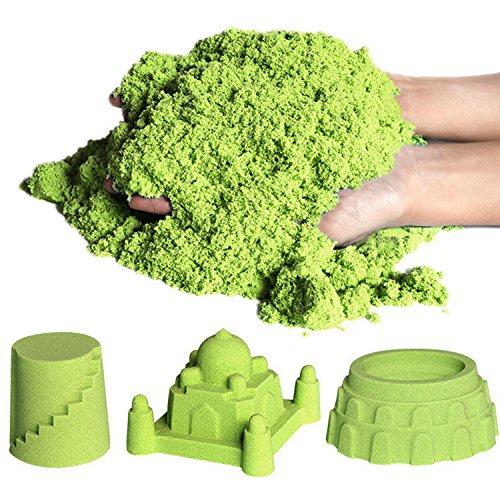 (7TECH Kinetic Sand Toys, Magic-Kinetic Kit Glow in The Dark Green 1 lb with 5 Random)