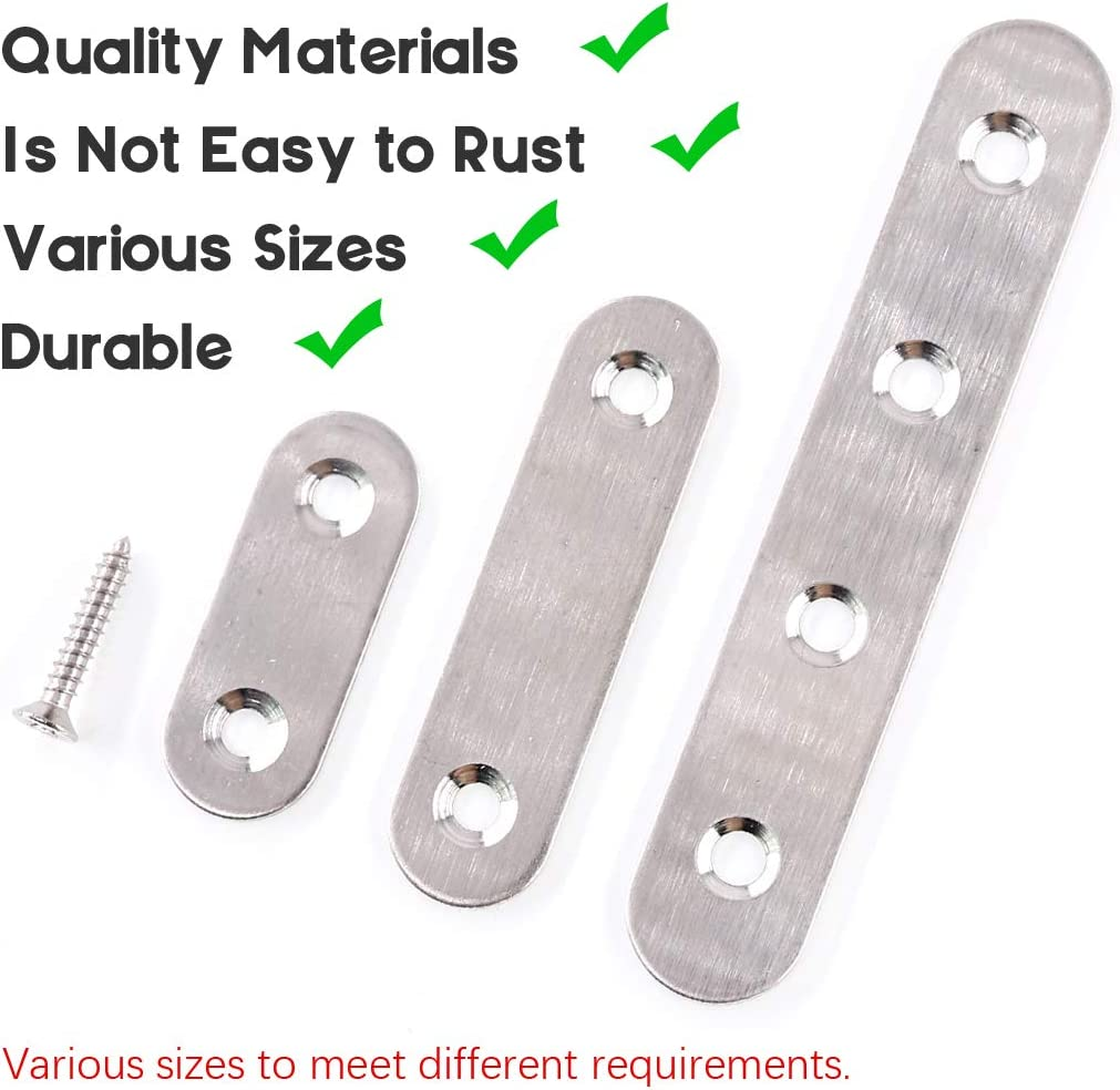 LERT Soporte Plano Conector Plano Plateado con Cuatro Orificios para Tornillos 76 /× 16 mm 10 piezas Soportes de Esquina de Acero Inoxidable