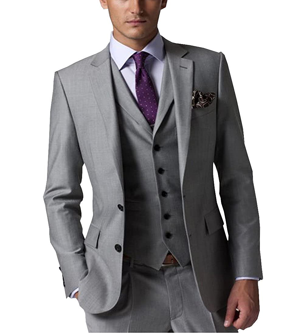 LoveeToo Men\u0027s Slim Fit Formal 3,piece Solid Business Mens