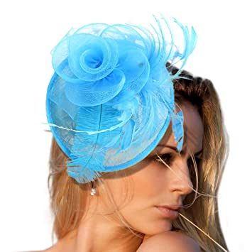 66ead88eb5f30 Image Unavailable. Image not available for. Color  CHLONG Sinamay Feather  Fascinator ...