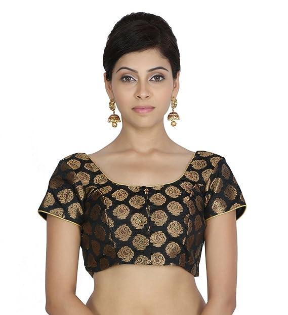 Jaipur Kala Kendra de la mujer negro bordado de arte seda boda novia Saree Blusa Crop