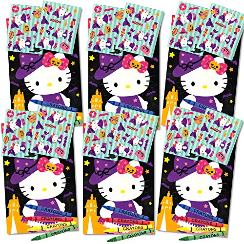 Hello Kitty Halloween Play Packs for Kids ~ Set of 6 Packs Filled with Stickers, Mini Coloring Book and Crayons (Party Supplies, Party (Halloween Mini Books)