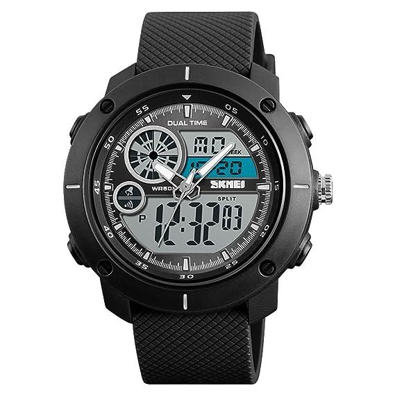 Reloj Impermeable Natación Reloj Deportivo Militar Multifunción Alarma Cronómetro Calendario Dual Time 12/24 Horas