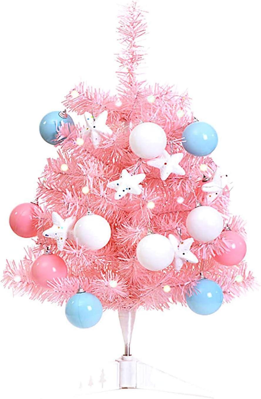 Christmas Tree Set, Pink 23.62 inch Christmas Tree, 12Pcs Ball + 6Pcs Stars, Desk Artificial Mini Christmas Tree Decorative for Home/Office Xmas
