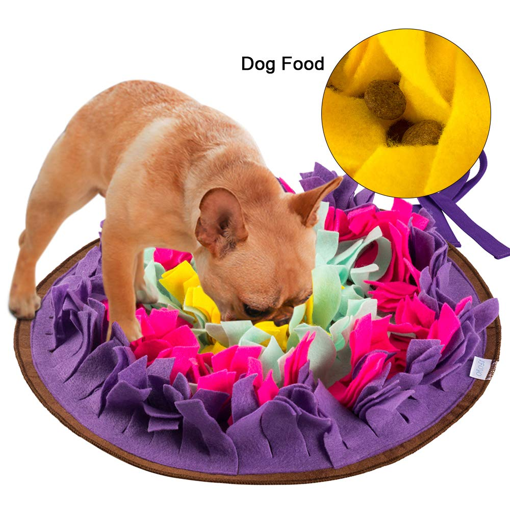 Green House Nosework Mat for Dog, Dog Snuffle Mat Pet Puzzle Toy Sniffing Training Pad Activity Blanket Feeding Mat (Purple)