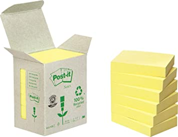 Post-It 653-1B - Pack de 6 notas recicladas, 38 x 51 mm, color amarillo