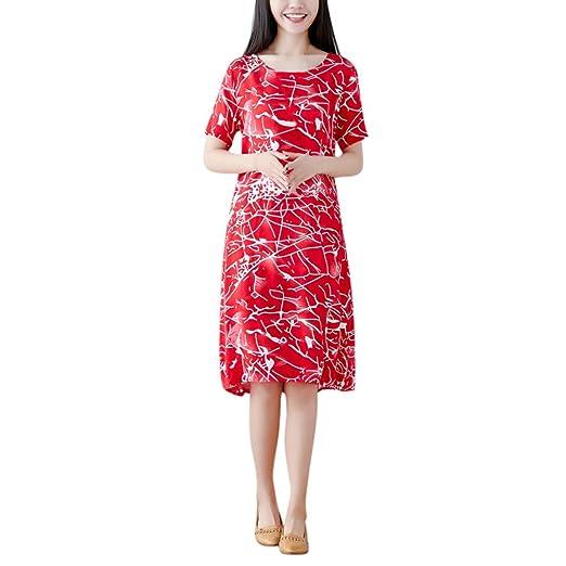 a2148a272e45 Amazon.com: Women Printed Midi Dress - Popular Fashion Ethnic Wind Casual O  Neck Short Sleeve Cotton-Silk Loose Dresses: Garden & Outdoor