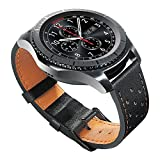 Gear S3 Bands, 22mm Genuine Leather Watch Band with Quick Release Pins, Loxan Premium Soft Smart Watch Strap for Samsung Gear S3 Frontier/Classic Smartwatch, Black