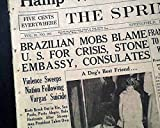 GETULIO VARGAS Brazil's Dictator & President SUICIDE Death 1954 Old Newspaper THE SPRINGFIELD UNION, Massachusetts, August 25, 1954