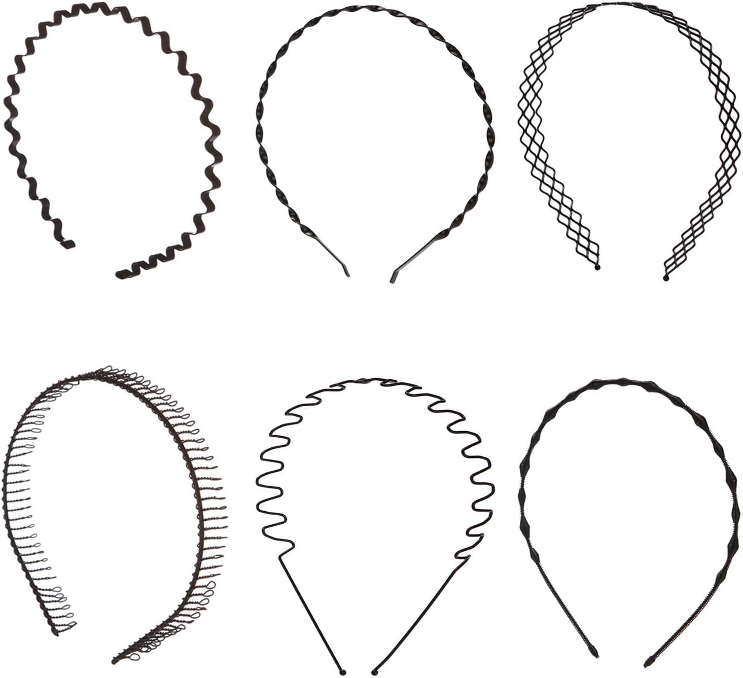 Folora 6 piezas Unisex Negro Primavera Ondulado Metal Pelo Aro Banda Hombres Mujeres Deportes Diadema Headwear Bandeau Accesorios