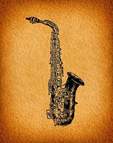 Amazon.com: Vintage Saxophone Wall Art Print for Music Themed Home ...